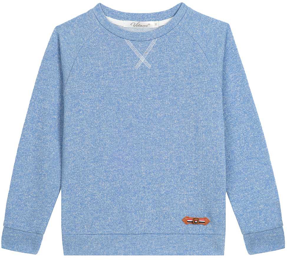 Свишот для мальчика Vitacci, цвет: голубой. 1172079-10. Размер 1101172079-10Свитшот для мальчика выполнен из хлопка и полиэстера. Модель с круглым вырезом горловины и длинными рукавами.