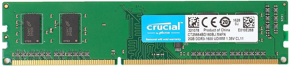 Crucial DDR3L 2Gb 1600 МГц модуль оперативной памяти (CT25664BD160BJ)CT25664BD160BJНебуферезированная память Crucial DDR3L предоставляет качество работы, надежность и производительность, требуемую для современных компьютеров сегодня. Этот модуль емкостью 2 ГБ, спроектирован для работы на частоте 1600 МГц PC3-12800 при таймингах CL-11. Благодаря низкому напряжению (1,35 В), снижается потребление энергии, что обеспечивает отсутствие нагрева и бесшумную работу ПК.Как собрать игровой компьютер. Статья OZON Гид