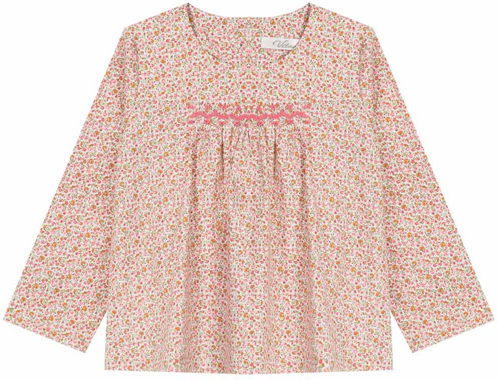 Туника для девочки Vitacci, цвет: розовый. 2172008-11. Размер 1222172008-11Свободная туника из высококачественного хлопка понравится маленьким модницам, идеально сочетается с джинсами.