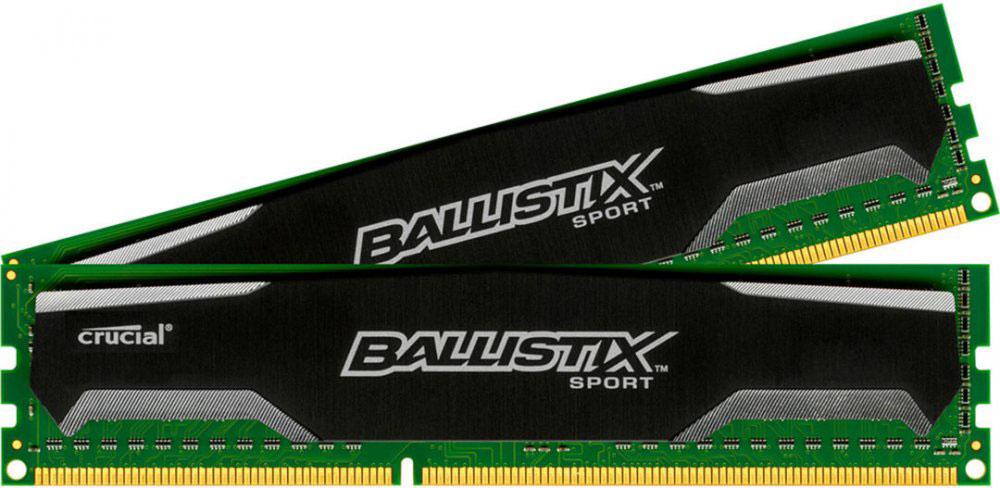 Crucial Ballistix Sport DDR3 2х4Gb 1600 МГц комплект модулей оперативной памяти (BLS2C4G3D169DS1J)BLS2C4G3D169DS1JМодули оперативной памяти Crucial Ballistix Sport типа DDR3 предоставляют качество работы, надежность и производительность, требуемую для современных компьютеров сегодня. Оснащены теплоотводом, выполненным из чистого алюминия, что ускоряет рассеяние тепла.Общий объем памяти составляет 8 ГБ, что позволит свободно работать со стандартными, офисными и профессиональными ресурсоемкими программами, а также современными требовательными играми. Работа осуществляется при тактовой частоте 1600 МГц и пропускной способности, достигающей до 12800 Мб/с, что гарантирует качественную синхронизацию и быструю передачу данных, а также возможность выполнения множества действий в единицу времени. Параметры тайминга 9-9-9-24 гарантируют быструю работу системы. Имеется поддержка XMP для удобного разгона в автоматическом режиме.