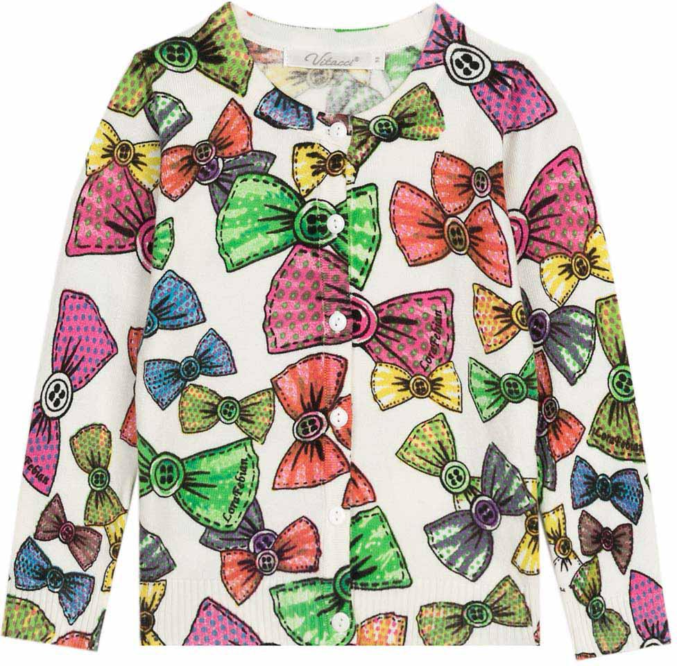 Кофта для девочки Vitacci, цвет: белый, мультиколор. 2172019-01. Размер 1102172019-01Оригинальная кофта для девочки с необычным принтом в сочетании с джинсами подойдет для прохладного летнего дня.