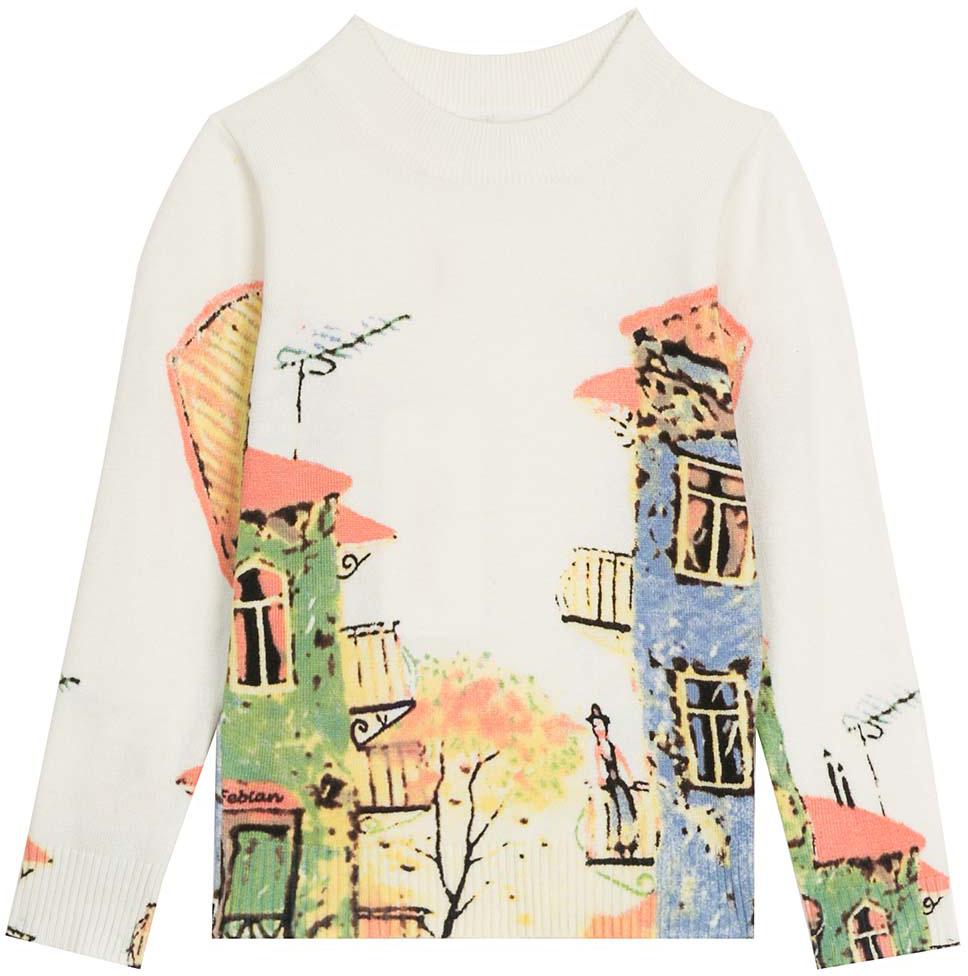 Джемпер для девочки Vitacci, цвет: белый, зеленый, синий. 2172021-01. Размер 1162172021-01Оригинальный вязанный джемпер для девочки с необычным принтом в сочетании с джинсами подойдет для прохладного летнего дня.