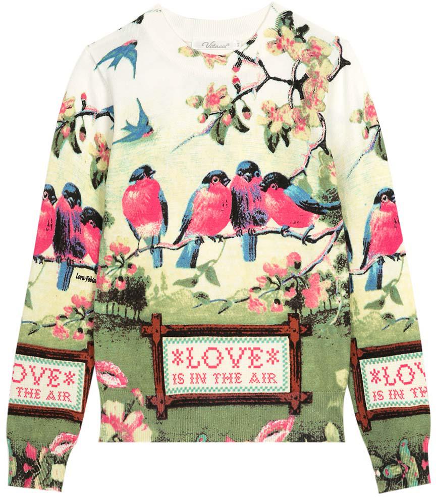 Джемпер для девочки Vitacci, цвет: зеленый, розовый, синий. 2172023-01. Размер 1582172023-01Оригинальный вязанный джемпер для девочки с необычным принтом в сочетании с джинсами подойдет для прохладного летнего дня.