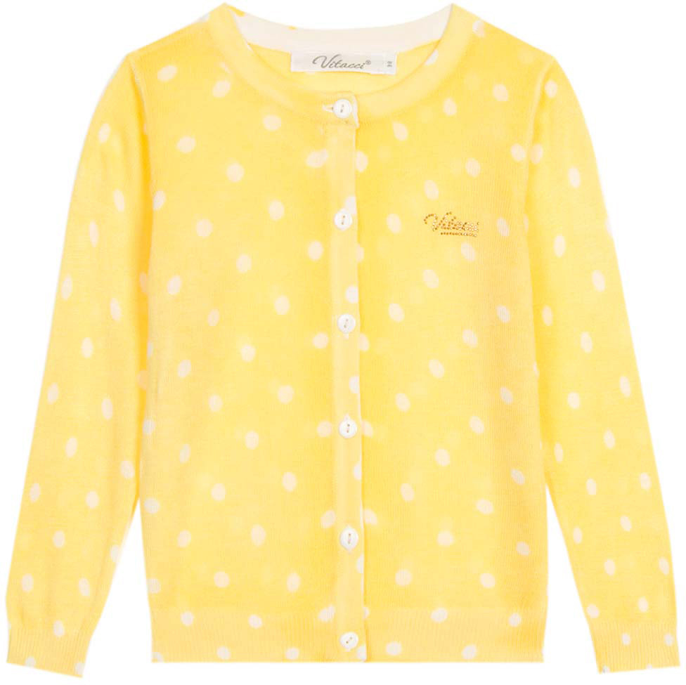 Кофта для девочки Vitacci, цвет: желтый. 2172024-14. Размер 1102172024-14Кофта для девочки выполнена из натуральной вискозы. Модель с длинными рукавами застегивается на пуговицы.