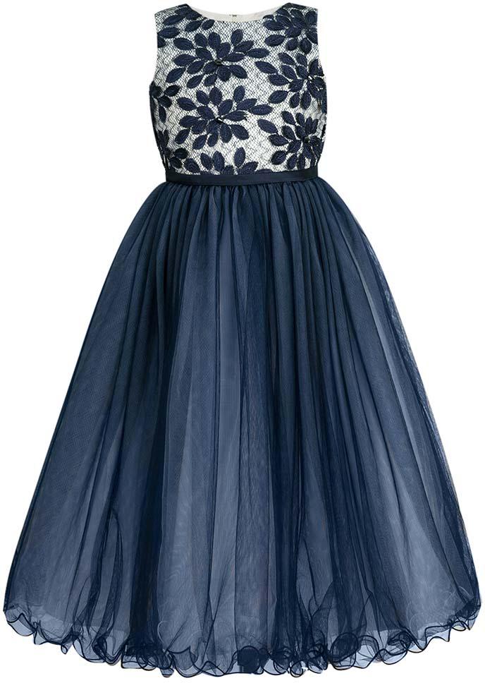 Платье для девочки Vitacci, цвет: синий. 2172036-04. Размер 1002172036-04Чудесное платье для юной принцессы с круглым вырезом горловины, которая привыкла блистать на праздниках.