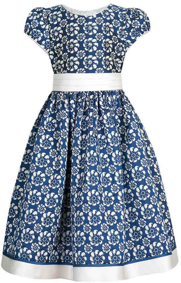 Платье для девочки Vitacci, цвет: синий. 2172040-04. Размер 1302172040-04Чудесное платье для юной принцессы выполнено из полиэстера. Модель с круглым вырезом горловины и короткими рукавами.