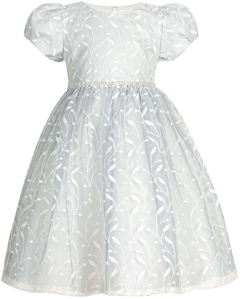 Платье для девочки Vitacci, цвет: серый. 2172043-02. Размер 902172043-02Замечательное платье для маленькой принцессы идеально подойдет для торжественного выхода в свет или детского праздника.