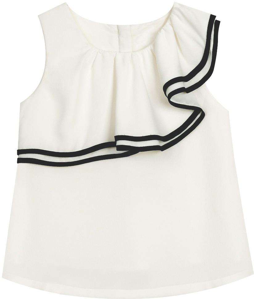 Блузка для девочки Vitacci, цвет: белый. 2172051-01. Размер 1042172051-01Маленькая модница по достоинству оценит эту тунику в жаркий летний день ! Контрастная отделка по краю волана придает модели особую изюминку.