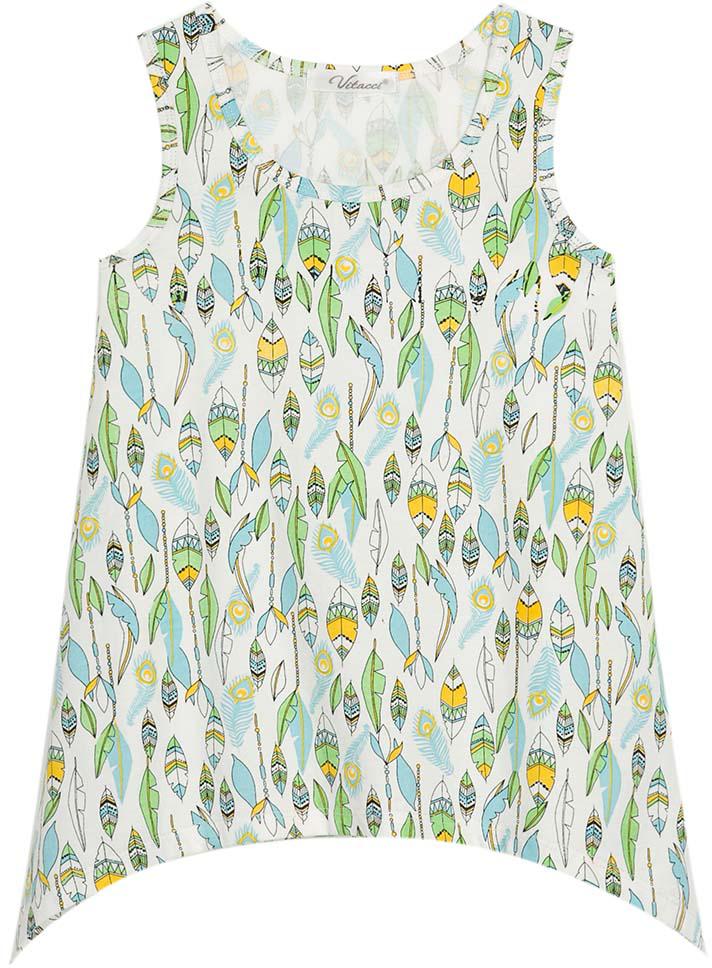 Топ для девочки Vitacci, цвет: зеленый. 2172075-06. Размер 1162172075-06Свободный топ без рукавов с забавным принтом Листья понравится модницам и идеально подойдет к леггинсам с аналогичным принтом.