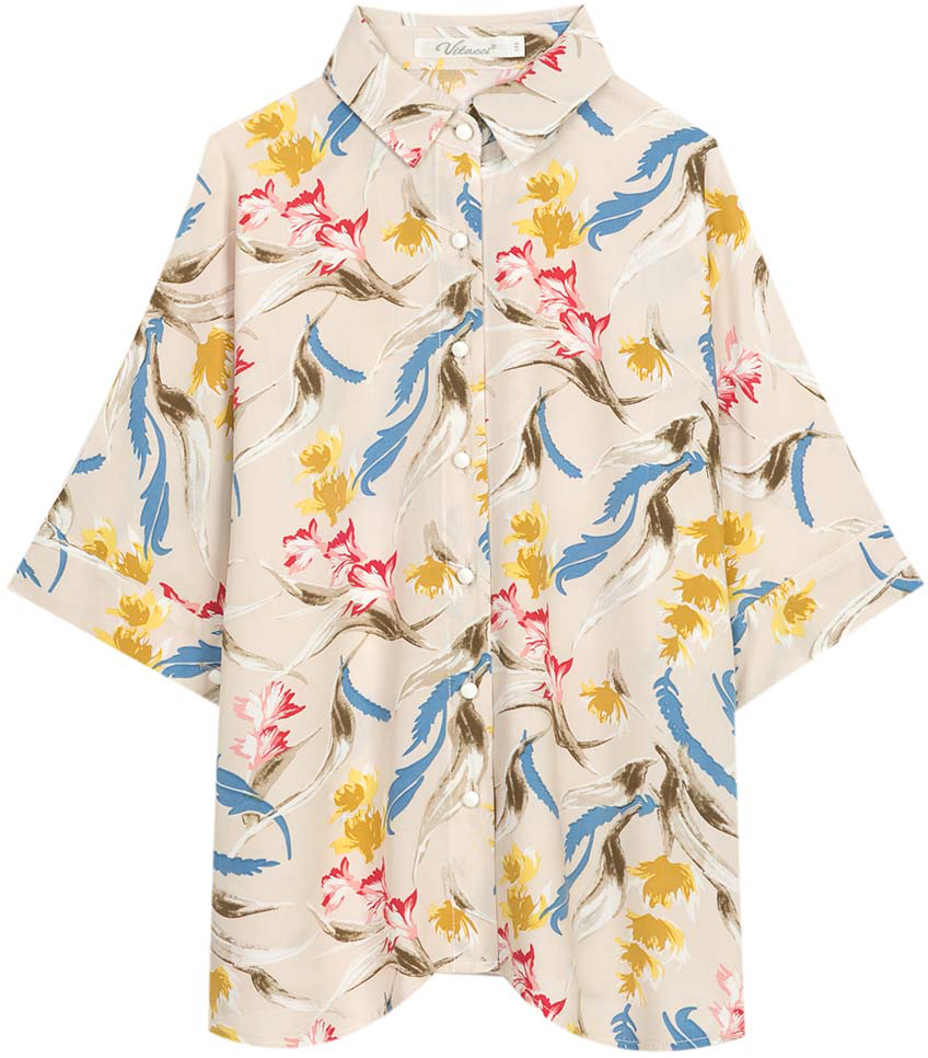 Рубашка для девочки Vitacci, цвет: бежевый. 2172090-09. Размер 1642172090-09Замечательная туника-рубашка для девочки подростка выполнена из высококачественного хлопка с оригинальным принтом. Модель свободного силуэта идеально сочетается с леггинсами и узкими летними брюками.