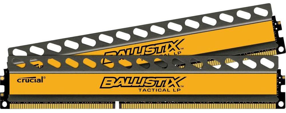 Crucial Ballistix Tactical LP DDR3L 2x4Gb 1600 МГц комплект модулей оперативной памяти (BLT2C4G3D1608ET3LX0CEU)BLT2C4G3D1608ET3LX0CEUМодули оперативной памяти Crucial Ballistix Tactical LP типа DDR3L предоставляют качество работы, надежность и производительность, требуемую для современных компьютеров сегодня. Оснащены теплоотводом, выполненным из чистого алюминия, что ускоряет рассеяние тепла. Благодаря низкому напряжению (1,35 В), снижается потребление энергии, что обеспечивает меньший нагрев и бесшумную работу ПК.Общий объем памяти составляет 8 ГБ, что позволит свободно работать со стандартными, офисными и профессиональными ресурсоемкими программами, а также современными требовательными играми. Работа осуществляется при тактовой частоте 1600 МГц и пропускной способности, достигающей до 12800 Мб/с, что гарантирует качественную синхронизацию и быструю передачу данных, а также возможность выполнения множества действий в единицу времени. Параметры тайминга 8-8-8-24 гарантируют быструю работу системы. Имеется поддержка XMP для удобного разгона в автоматическом режиме.