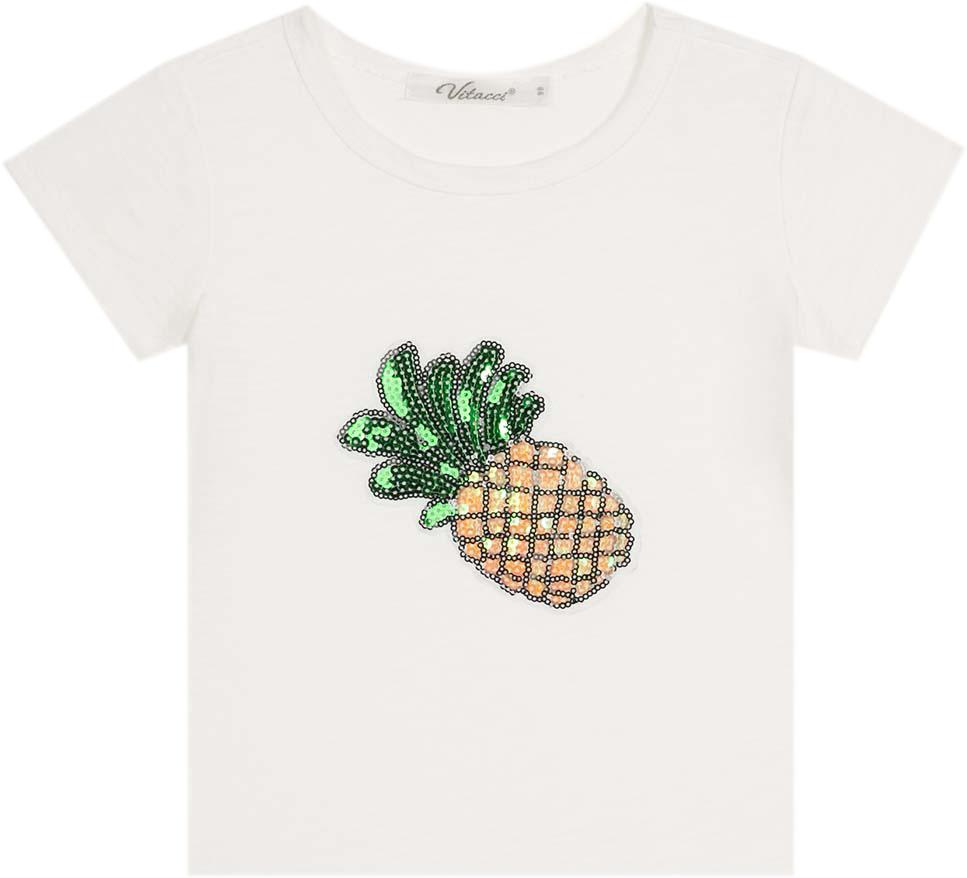 Футболка для девочки Vitacci, цвет: белый. 2172136-01. Размер 1222172136-01Замечательная футболка для маленькой модницы с оригинальным принтом Ананас, оформленным цветными пайетками.