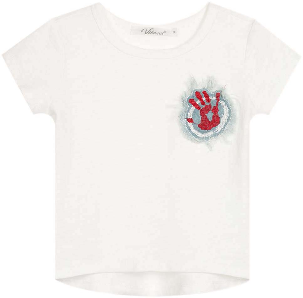 Футболка для девочки Vitacci, цвет: белый. 2172137-01. Размер 1042172137-01Замечательная футболка для маленькой модницы с короткими рукавами и круглым вырезом горловины.