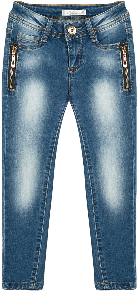 Джинсы для девочки Vitacci, цвет: синий. 2172159-04. Размер 1102172159-04Стильные узкие джинсы для маленькой модницы, оформленные декоративными молниями.