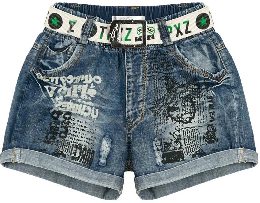 Шорты для девочки Vitacci, цвет: синий. 2172161-04. Размер 1582172161-04Стильные джинсовые шорты для девочки подростка с отворотами, декоративным поясом. Оригинальный принт на передней части придает модели актуальный вид.