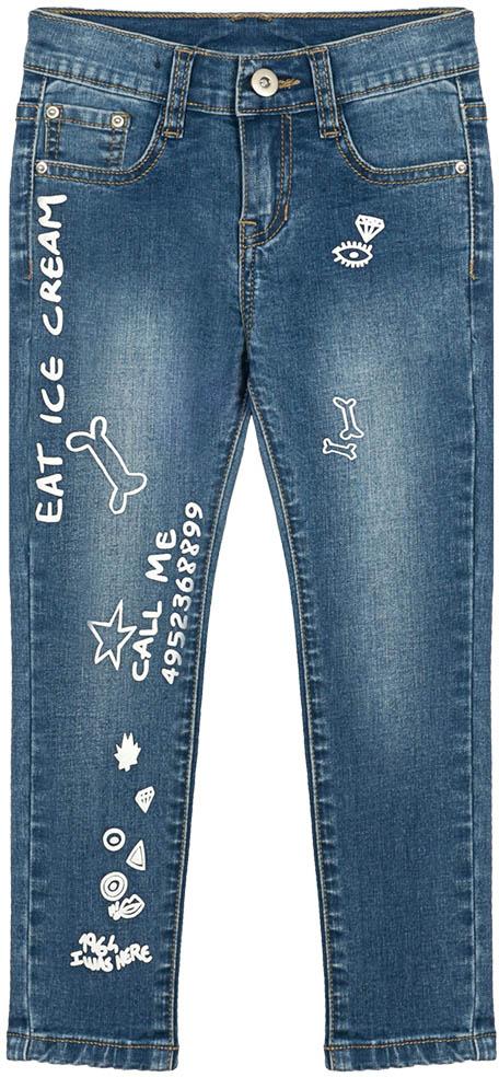 Джинсы для девочки Vitacci, цвет: синий. 2172178-04. Размер 1222172178-04Стильные узкие джинсы для маленькой модницы, оформленные контрастными принтами.