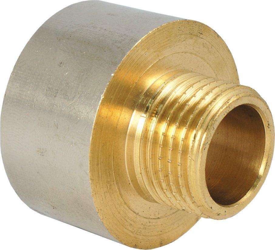 """Переходник """"Smart"""" с ребордой предназначен для монтажа стальных, металлополимерных и медных труб,  подключения арматуры, сантехнических приборов и оборудования при условии наличия муфт и  присоединительных патрубков с резьбой. На наружной резьбе предусмотрена насечка для эффективного  удержания уплотнительного материала. Материал: латунь с никелевым покрытием Нормативный срок службы: 30 лет Максимальная рабочая температура: +200°С Максимальное рабочее давление: 40 бар."""