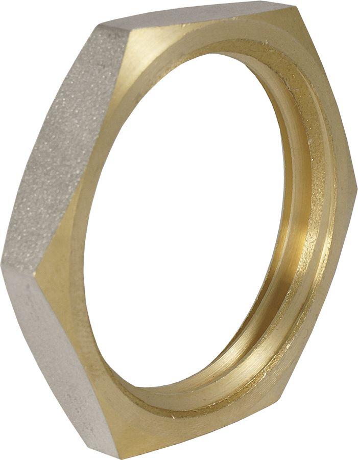 Контргайка Smart NS, резьба: внутренняя, 1/2ИС.072289Контргайка с фаской Smart NS 1/2 - это добавочная гайка, создающая дополнительное натяжение и трение в резьбовом соединении, затрудняя тем самым самоотвинчивание. Изделие изготовлено из прочной и долговечной латуни. Никелированное покрытие на внешнем корпусе защищает изделие от окисления.Нормативный срок службы: 30 лет.Максимальная рабочая температура: +200°С.