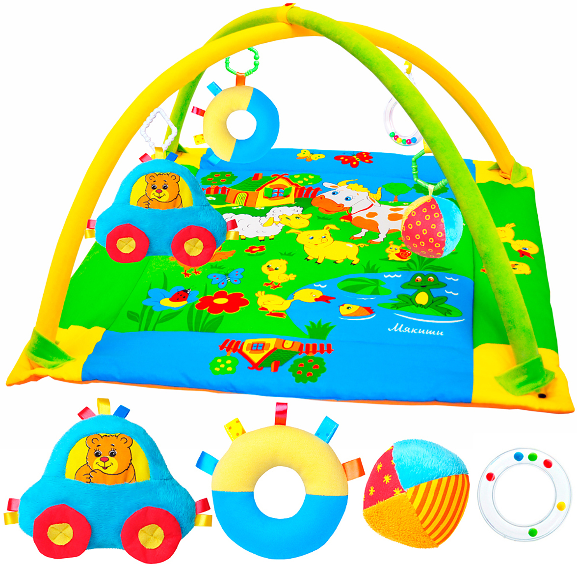 Развивающий коврик  Лужайка , с машинкой, 90 см x 90 см - Игрушки для малышей