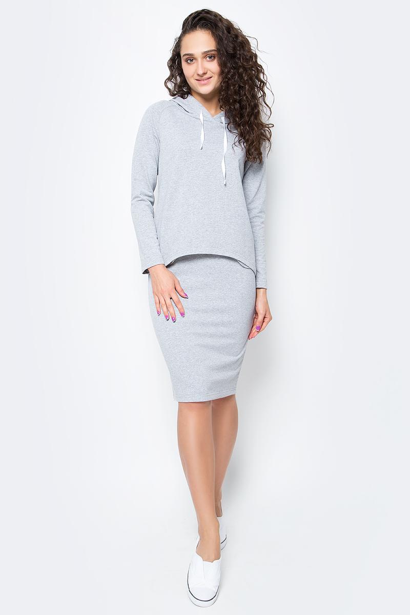Костюм женский Rocawear, цвет: светло-серый меланж. R021752. Размер S (44)R021752Костюм женский Rocawear изготовлен из качественной смесовой ткани и состоит из толстовки и юбки. Легкий и стильный костюм подходит как для спорта,так и для повседневной носки. Толстовка свободного кроя до середины бедра дополнена капюшоном. Спинка толстовки ниже переда. Слегка зауженная юбка выполнена с резинкой по талии.