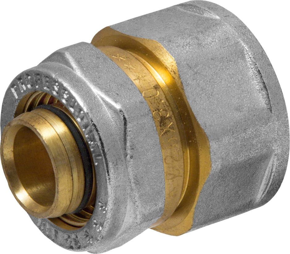Соединитель RVC, ц/г, внутренняя резьба 26 мм х 1ИС.072549Соединитель RVC предназначен для соединения металлопластиковых труб. При установке данного фитинга не требуется специальное оборудование, достаточно разводного ключа. Соединение получается разъемным, что позволяет при необходимости произвести обслуживание участка трубопровода. Для обслуживания самого фитинга достаточно сменить уплотнительные кольца. Рабочая температура до 95 С, нормативное рабочее давление до 10 бар. Материал корпуса - никелированная латунь CW617N.