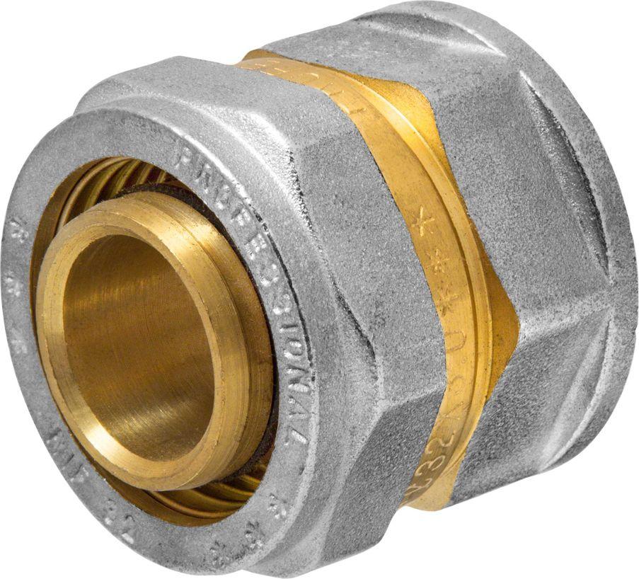 Соединитель RVC, ц/г, внутренняя резьба 32 мм х 1ИС.072550Соединитель RVC предназначен для соединения металлопластиковых труб. При установке данного фитинга не требуется специальное оборудование, достаточно разводного ключа. Соединение получается разъемным, что позволяет при необходимости произвести обслуживание участка трубопровода. Для обслуживания самого фитинга достаточно сменить уплотнительные кольца. Рабочая температура до 95 С, нормативное рабочее давление до 10 бар. Материал корпуса - никелированная латунь CW617N.