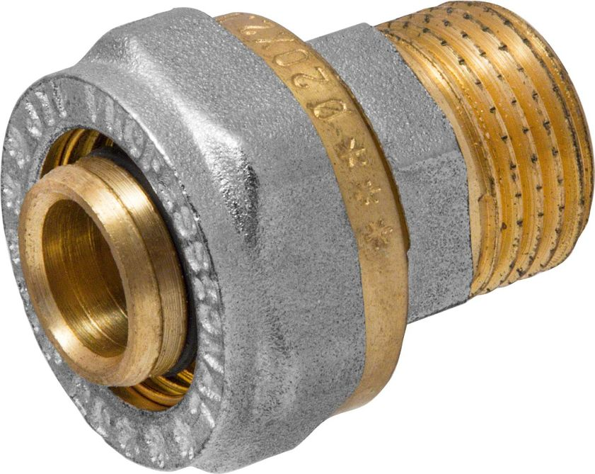 Соединитель RVC, ц/ш, наружная резьба 20 мм х 1/2ИС.072553Соединитель RVC предназначен для соединения металлопластиковых труб. При установке данного фитинга не требуется специальное оборудование, достаточно разводного ключа. Соединение получается разъемным, что позволяет при необходимости произвести обслуживание участка трубопровода. Для обслуживания самого фитинга достаточно сменить уплотнительные кольца. Рабочая температура до 95 С, нормативное рабочее давление до 10 бар. Материал корпуса - никелированная латунь CW617N.