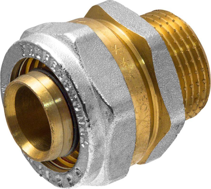 Соединитель RVC, ц/ш, наружная резьба 26 мм х 3/4ИС.072555Соединитель RVC предназначен для соединения металлопластиковых труб. При установке данного фитинга не требуется специальное оборудование, достаточно разводного ключа. Соединение получается разъемным, что позволяет при необходимости произвести обслуживание участка трубопровода. Для обслуживания самого фитинга достаточно сменить уплотнительные кольца. Рабочая температура до 95 С, нормативное рабочее давление до 10 бар. Материал корпуса - никелированная латунь CW617N.