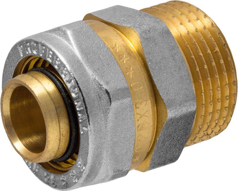 Соединитель RVC, ц/ш, наружная резьба 26 мм х 1ИС.072556Соединитель RVC предназначен для соединения металлопластиковых труб. При установке данного фитинга не требуется специальное оборудование, достаточно разводного ключа. Соединение получается разъемным, что позволяет при необходимости произвести обслуживание участка трубопровода. Для обслуживания самого фитинга достаточно сменить уплотнительные кольца. Рабочая температура до 95 С, нормативное рабочее давление до 10 бар. Материал корпуса - никелированная латунь CW617N.