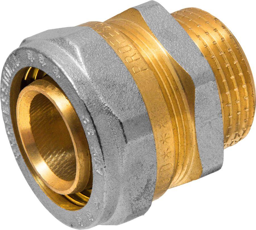 Соединитель RVC, ц/ш, наружная резьба 32 мм х 1ИС.072557Соединитель RVC предназначен для соединения металлопластиковых труб. При установке данного фитинга не требуется специальное оборудование, достаточно разводного ключа. Соединение получается разъемным, что позволяет при необходимости произвести обслуживание участка трубопровода. Для обслуживания самого фитинга достаточно сменить уплотнительные кольца. Рабочая температура до 95 С, нормативное рабочее давление до 10 бар. Материал корпуса - никелированная латунь CW617N.