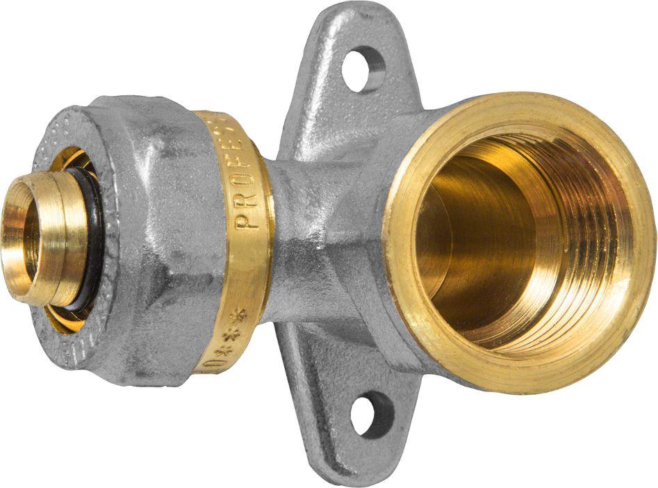 Угольник-водорозетка RVC, с креплением, ц/г, внутренняя резьба 20 х 1/2ИС.072579Угольник-водорозетка RVC предназначен для соединения металлопластиковых труб. При установке данного фитинга не требуется специальное оборудование, достаточно разводного ключа. Соединение получается разъемным, что позволяет при необходимости произвести обслуживание участка трубопровода. Для обслуживания самого фитинга достаточно сменить уплотнительные кольца. Рабочая температура до 95 С, нормативное рабочее давление до 10 бар. Материал корпуса - никелированная латунь CW617N.