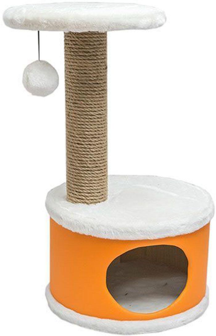 Домик-когтеточка Дарэлл Конфетти, круглый, цвет: оранжевый, 37 х 37 х 73 см81103Домик-когтеточка Дарэлл Конфетти круглой формы с полкой, на которую подвешен помпон в цвет домика. Изготовлен из ДСП и фанеры, обработанных искусственным мехом и экокожей. Столбик-когтеточка обмотан джутом. Благодаря простоте формы и цветовым оттенкам домик легко впишется в любой интерьер. Для удобства в перевозке, домик легко собирается и разбирается.В комплект входят инструкция и ключ для сборки.