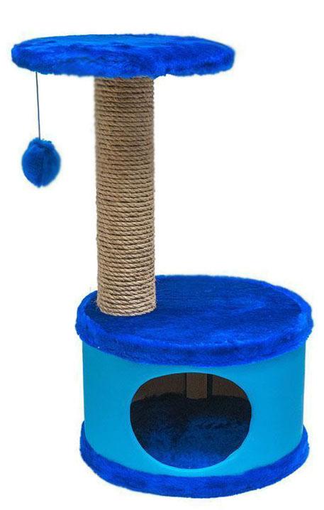 Домик-когтеточка Дарэлл Конфетти, круглый, цвет: синий, 37 х 37 х 73 см81104Домик-когтеточка Дарэлл Конфетти круглой формы с полкой, на которую подвешен помпон в цвет домика. Изготовлен из ДСП и фанеры, обработанных искусственным мехом и экокожей. Столбик-когтеточка обмотан джутом. Благодаря простоте формы и цветовым оттенкам домик легко впишется в любой интерьер. Для удобства в перевозке, домик легко собирается и разбирается.В комплект входят инструкция и ключ для сборки.