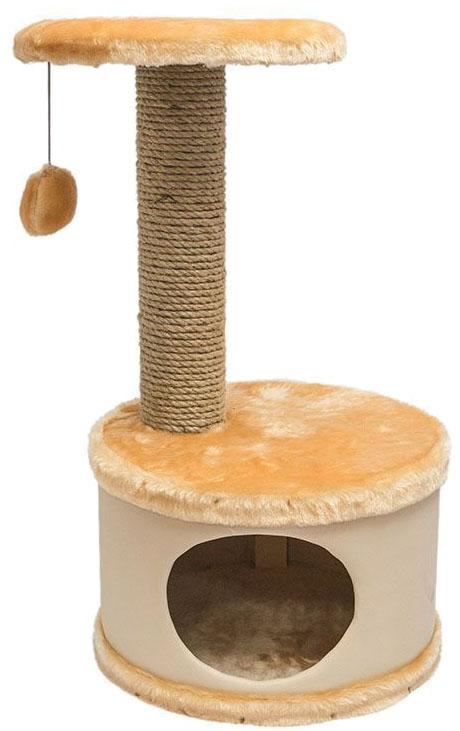 Домик-когтеточка Дарэлл  Конфетти , круглый, цвет: бежевый, 37 х 37 х 73 см