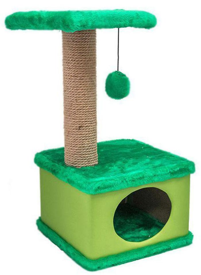 Домик-когтеточка Дарэлл Конфетти, квадратный, цвет: зеленый, 41 х 37 х 70 см81115Домик-когтеточка Дарэлл Конфетти квадратной формы с квадратной полкой, на которую подвешен помпон в цвет домика. Изготовлен из ДСП и фанеры, обработанных искусственным мехом и экокожей. Столбик-когтеточка обмотан джутом. Благодаря простоте формы и цветовым оттенкам домик легко впишется в любой интерьер. Для удобства в перевозке, домик легко собирается и разбирается.В комплект входят инструкция и ключ для сборки.