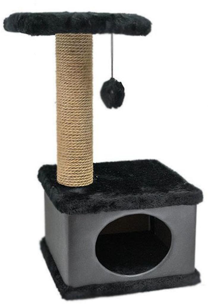 Домик-когтеточка Дарэлл  Конфетти , квадратный, цвет: черный, 41 х 37 х 70 см - Когтеточки и игровые комплексы