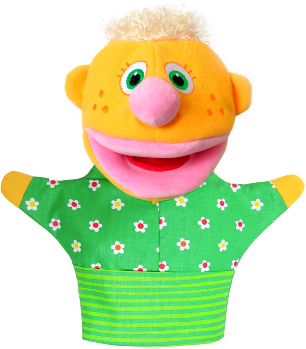 """Мягкая игрушка на руку Мякиши """"Нямлик"""", 26 см, цвет: желтый, зеленый"""