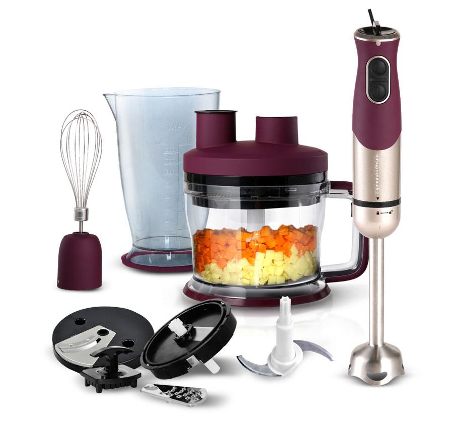 Zigmund & Shtain BH-339M, Purple блендер погружнойВН-339МСтильная и функциональная модель блендера Zigmund & Shtain BH-339M с насадкой для нарезки кубиками!Идеальная форма ингредиентов для оливье, винегрета, овощей для супа и других продуктов за считанные секунды!Особенности:Большая чаша измельчителя емкостью 1750 млКомплект насадок 4 в 1: насадка для нарезки кубиками, насадка-терка, насадка-шинковка, насадка-измельчитель6 скоростей с плавной регулировкойРежим ТурбоНасадка-блендер из нержавеющей сталиНасадка-венчикСтакан для смешивания емкостью 600 млПетля для подвешиванияПрорезиненные съемные части.