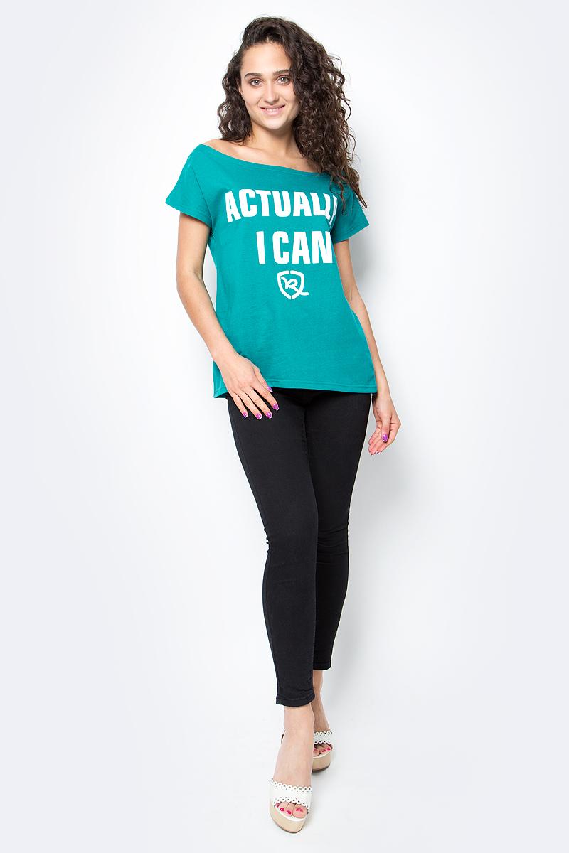 Футболка женская Rocawear, цвет: зеленый. R021757. Размер S (44)R021757Женская футболка Rocawear на одно плечо - тренд последних нескольких сезонов. Небрежное спадание и оголенное плечо добавляют пикантности, привлекательности и в то же время не опошляют образ. Также сочетание сексуальной нотки с удобным повседневным кроем делает внешний вид индивидуальным и оригинальным. Спереди украшена принтом с надписью Actually, I Can.