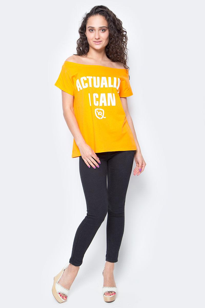 Футболка женская Rocawear, цвет: оранжевый. R021757. Размер S (44)R021757Женская футболка Rocawear на одно плечо - тренд последних нескольких сезонов. Небрежное спадание и оголенное плечо добавляют пикантности, привлекательности и в то же время не опошляют образ. Также сочетание сексуальной нотки с удобным повседневным кроем делает внешний вид индивидуальным и оригинальным. Спереди украшена принтом с надписью Actually, I Can.
