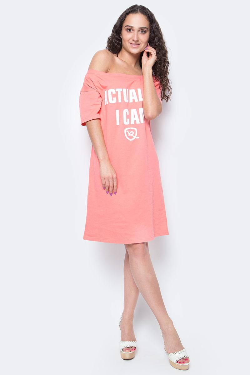 Платье Rocawear, цвет: розовый. R021756. Размер L (48)R021756Женское хлопковое Rocawear платье на одно плечо - тренд последних нескольких сезонов. Небрежное спадание и оголенное плечо добавляют пикантности, привлекательности, но в то же время не опошляют образ. Также сочетание сексуальной нотки с удобным повседневным кроем делает внешний вид индивидуальным и оригинальным. Cпереди платье украшено принтом с надписью Actually, I Can.