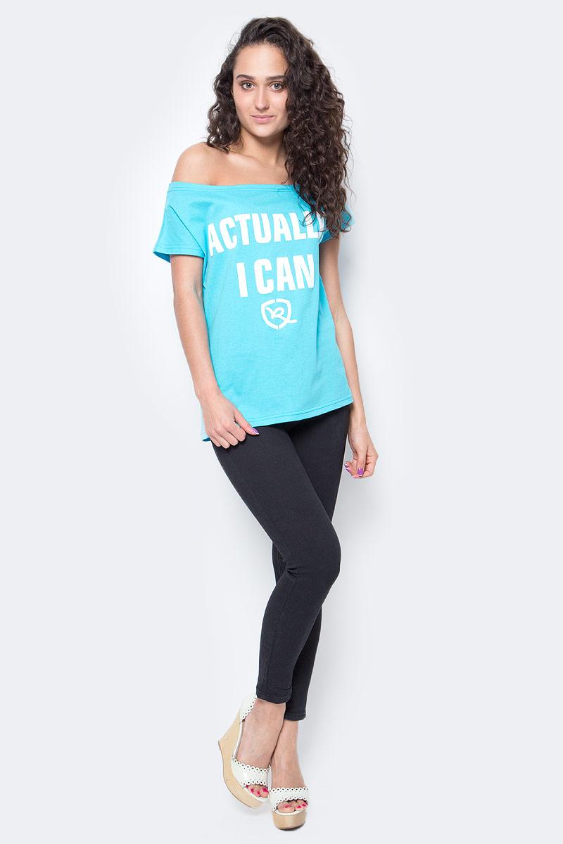 Футболка женская Rocawear, цвет: голубой. R021757. Размер S (44)R021757Женская футболка Rocawear на одно плечо - тренд последних нескольких сезонов. Небрежное спадание и оголенное плечо добавляют пикантности, привлекательности и в то же время не опошляют образ. Также сочетание сексуальной нотки с удобным повседневным кроем делает внешний вид индивидуальным и оригинальным. Спереди украшена принтом с надписью Actually, I Can.