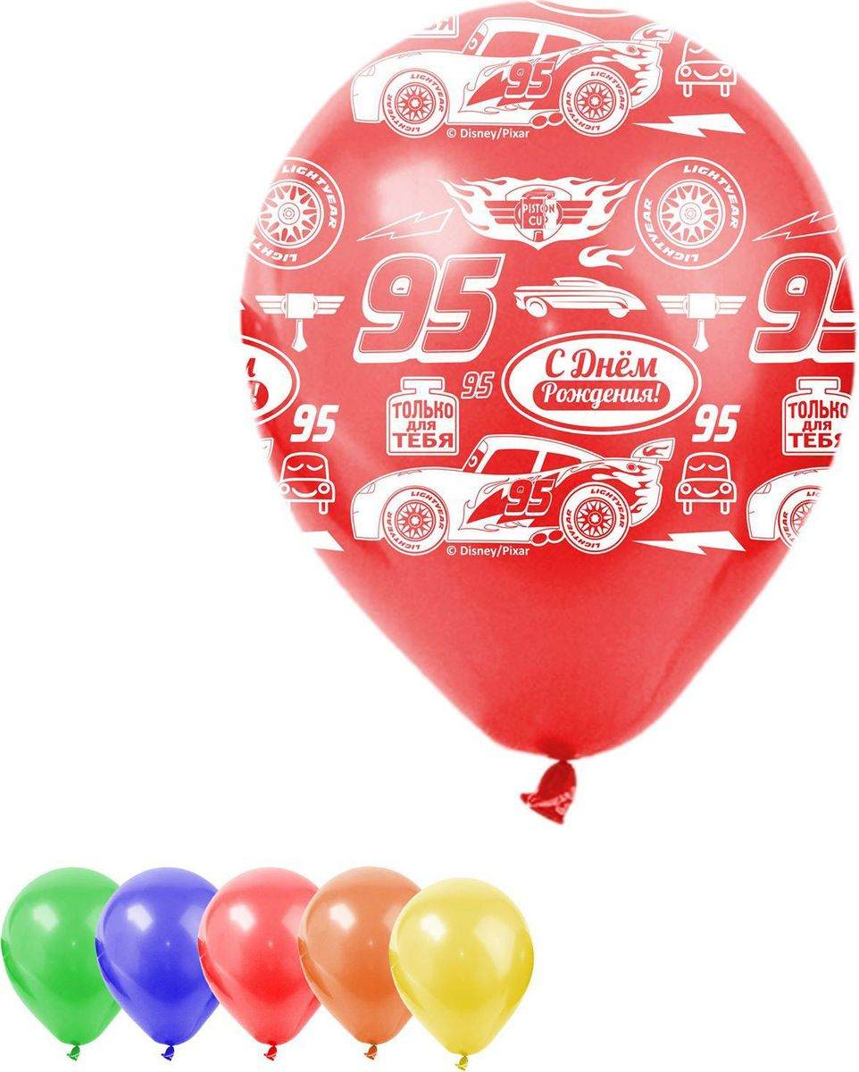 Disney Набор воздушных шаров С днем рождения Тачки 5 шт 1442477 disney гирлянда детская резная с подвесками с днем рождения тачки 200 см