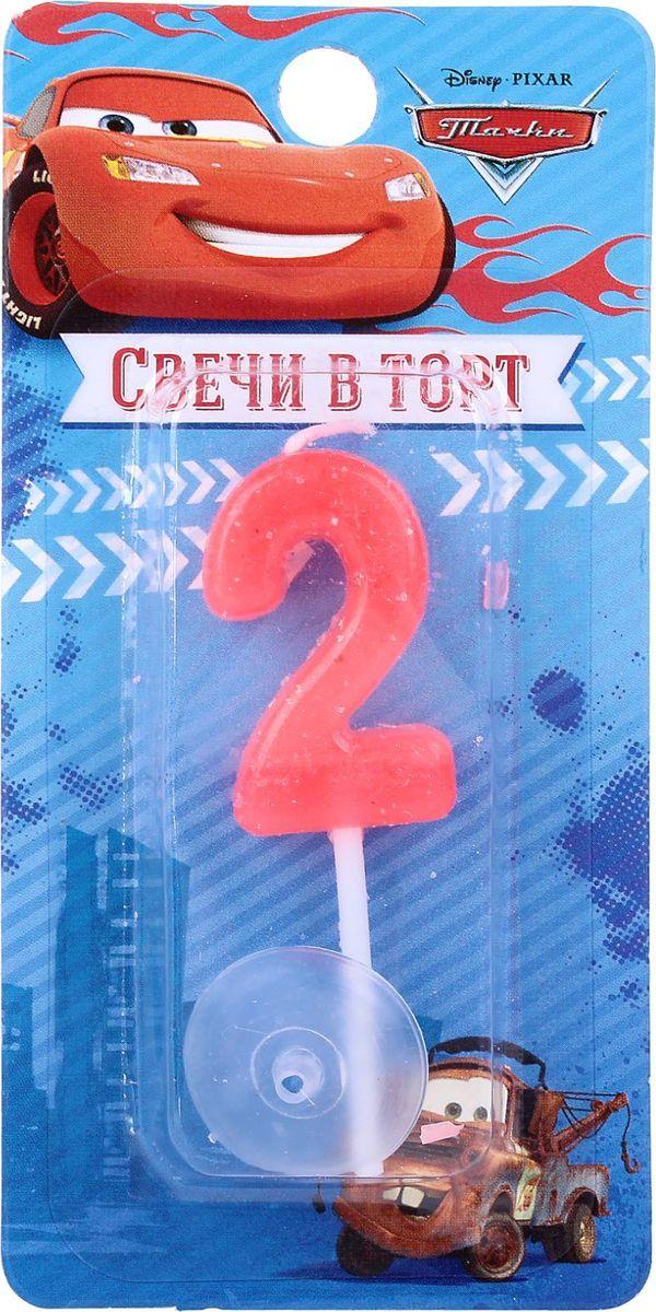 Disney Свеча для торта Тачки С днем рождения Цифра 2 мини