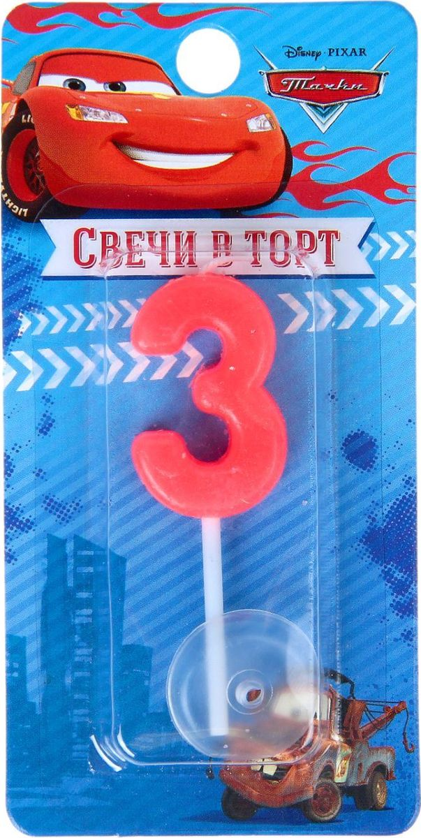 Disney Свеча для торта Тачки С днем рождения Цифра 3 мини