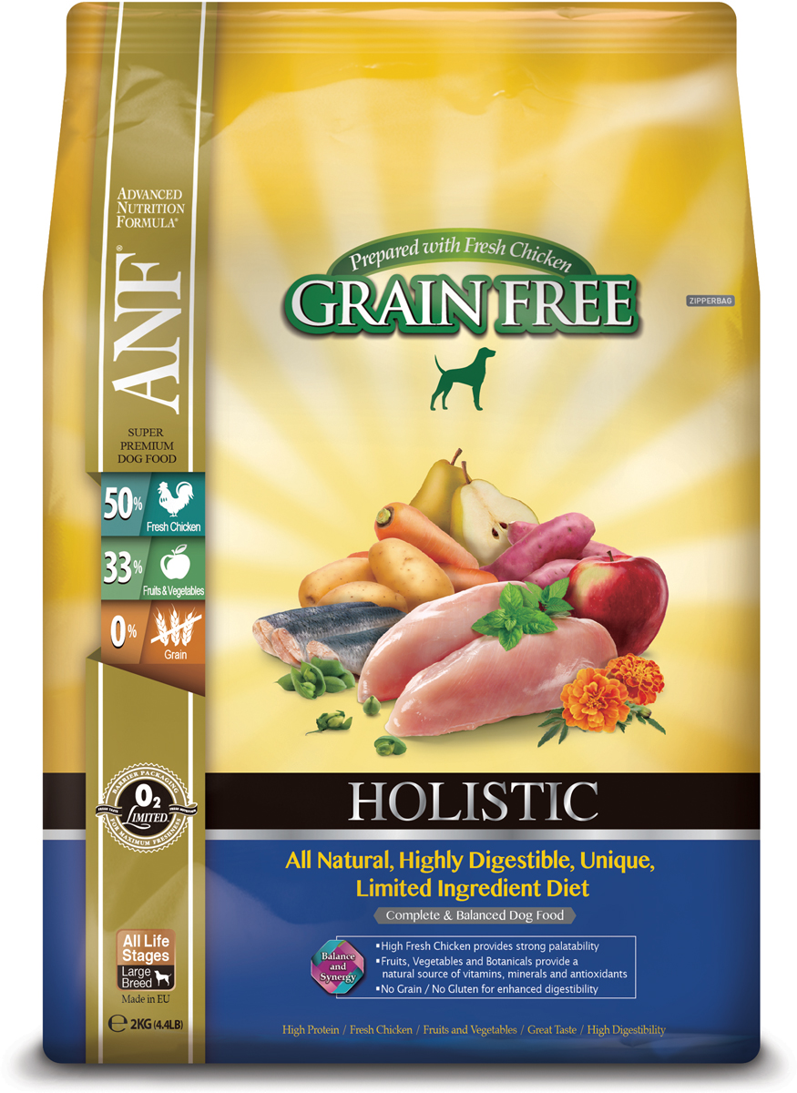 Корм сухой ANF Holistic Grain Free для взрослых собак, беззерновой, с курицей, 2 кг0303Полноценное и сбалансированное беззерновое питание для собак на всех стадиях жизни. Приготовленные на основе свежего мяса курицы или лосося рационы Anf Holistic Grain Free отличаются великолепным вкусом и усвояемостью белка более чем на 95%! Полностью натуральные. Высокоусвояемые, уникальные рационы с ограниченным количеством ингредиентов. Высокий уровень Омега-3 жирных кислот обеспечивает блеск шерсти и здоровье кожи животного. Свежее мясо курицы, добавленное в рацион, придает ему великолепный вкус, обеспечивает отличное усвоение всего комплекса необходимых аминокислот.Фрукты, овощи и специально подобранные травы являются натуральными источниками витаминов, минеральных веществ и антиоксидантов. Рационы не содержат зерна, кукурузы, сои для улучшения их усвояемости. Приготовлено на основе свежего мяса курицы. Состав: 62% мяса курицы (включая 51% свежего незамороженного мяса курицы, 9% вяленого мяса курицы и 2% бульона из куриной печени), картофель, турецкий горох, сладкий картофель, горох 3%, вяленая сельдь, кокосовое масло, витамины и минералы, яблоко, смесь трав (тимьян, майоран, орегано, петрушка, шалфей), груша, морковь, клюква, водоросли, календула. мята, спирулина, ФОС (462 мг/кг), МОС (115 мг/кг), глюкозамин (170 мг/кг), метилсульфонилметан (170 мг/кг), хондроитин (120 мг/кг). Анализ: неочищенный белок 28%, неочищенных масел и жиров 15%, сырая клетчатка 2,5%, неорганические минералы 7%, НФО (углеводы) 39,5%, Омега-3 - 2,52%, Омега-6 0,45%, кальций 1,53%, фосфор 1,24%. Витамины и добавки на 1 кг: витамин А (ретинол ацетат) - 14423 МЕ, витамин D3 (холекальциферол) - 2,163 МЕ, витамин Е (альфатокоферол ацетат) - 96 мг, цинк хелат аминокислот гидрата - 321 мг, феррохелат аминокислот гидрата - 321 мг, марганца хелат аминокислот гидрата - 224 мг, меди хелат аминокислот гидрата - 144 мг, кальций йодат безводный - 1,58 мг, селенит натрия 0,64 мг. Аминокислоты: таурин - 190 мг Пробио