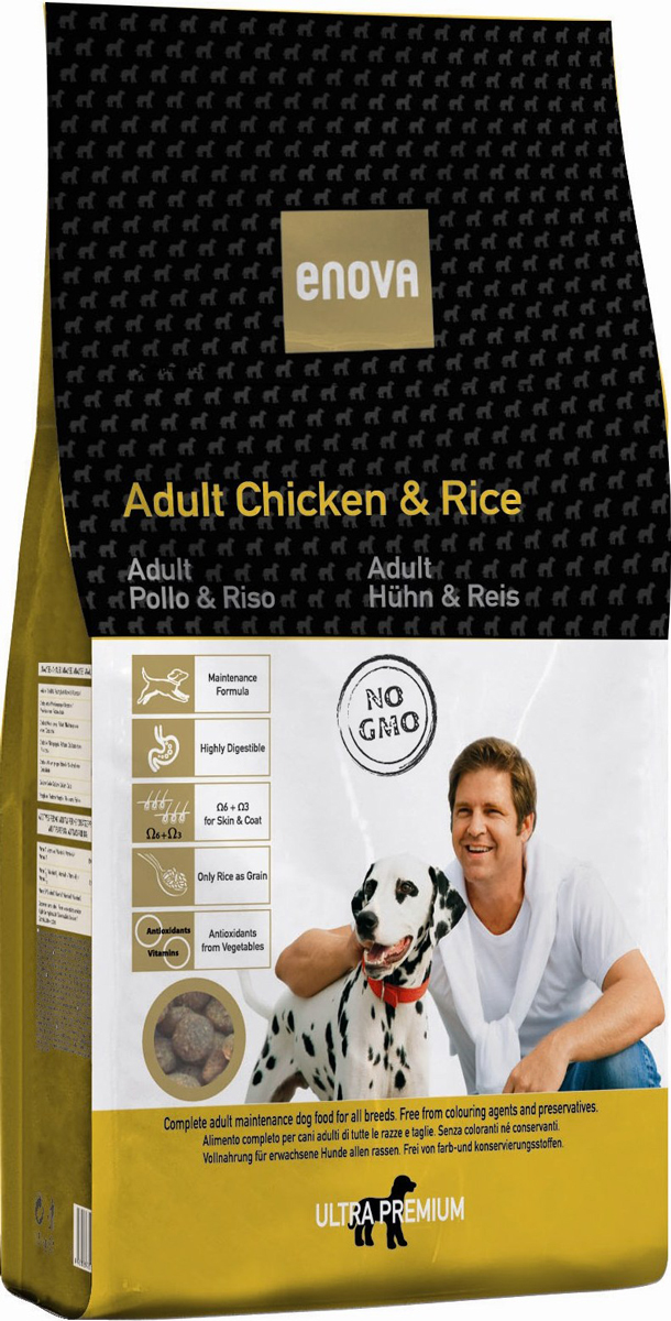 Корм сухой Enova для взрослых собак всех пород, с курицей и рисом, 14 кгCS603Сухой корм Enova - сбалансированное питание для взрослых собак на основе мяса курицы и риса. Преимущества корма: - высокая степень усвояемости,- рис - единственная злаковая культура, - омега-6+омега-3 в правильном соотношении, - овощи - источники антиоксидантов и витаминов.Состав: дегидратированное мясо курицы (минимум 29%), рис (минимум 28,5%), коричневый рис, куриный жир, сушеная свекольная пульпа, рисовые отруби, льняное семя, яичный порошок, гидролизат белка, сухие дрожжи, рыбий жир, сушеная морковь, сушеный томатный жмых, сушеные водоросли, целлюлоза, дикальция фосфат, калия хлорид, натрия хлорид, глюкозамин 500 мг/кг, хондроитина сульфат 500 мг/кг, экстракт розмарина. Антиоксиданты: токоферолы, пропилгаллат. Анализ: белок 26,5%, жиры 15%, клетчатка 3%, зола 7%, кальций 1,3%, фосфор 1%, влажность 10%, Омега-6 2,4%, Омега-3 0,7%. Витамины и добавки на 1 кг: витамин А - 12,000МЕ, витамин D3 - 1,200МЕ, витамин Е (альфа-токоферол) - 70мг, медь (пятиводный сульфат меди) - 10 мг, окись цинка - 70 мг, йод - 2 мг, селен - 0,2 мг.Энергетическая ценность: 3822 Ккал/кг.Товар сертифицирован.