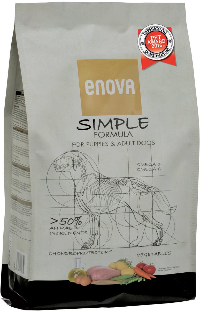 Корм сухой Enova Simple Formula для собак всех возрастов и пород, без глютена и зерна, 12 кгCS610Сухой корм Enova Simple Formula - питание для собак всех возрастов и пород. Преимущества корма:- содержит более 50% ингредиентов животного происхождения высокой биологической ценности для обеспечения питательных потребностей истинного хищника;- беззерновая формула предупреждает развитие пищевых аллергий и проблем, связанных с желудочно-кишечным трактом;- специально подобранный комплекс поддержит суставы, что крайне важно для щенков в период активного роста и собак ведущих активный образ жизни.Состав: дегидратированное мясо курицы (минимум 23%), свежее мясо курицы (минимум 20%), картофельная мука, сушеный горох (минимум 12%), куриный жир (минимум 6%), сушеная свекольная пульпа, льняное семя, дегидратированное яйцо (минимум 3%), гидролизат белка, сухие дрожжи, рыбий жир, сушеная морковь (минимум 0,5%), сушеный томатный жмых (минимум 0,5%), сушеные водоросли, натрия хлорид, глюкозамин 250 мг/кг, хондроитина гидрохлорид 250 мг/кг. Анализ: белок 31,5%, жиры 19,5%, клетчатка 6,8%, кальций 1,35%, фосфор 1%, влажность 10%, Омега6 2,7%, Омега3 1%. Энергетическая ценность: 3989 Ккал/кг.