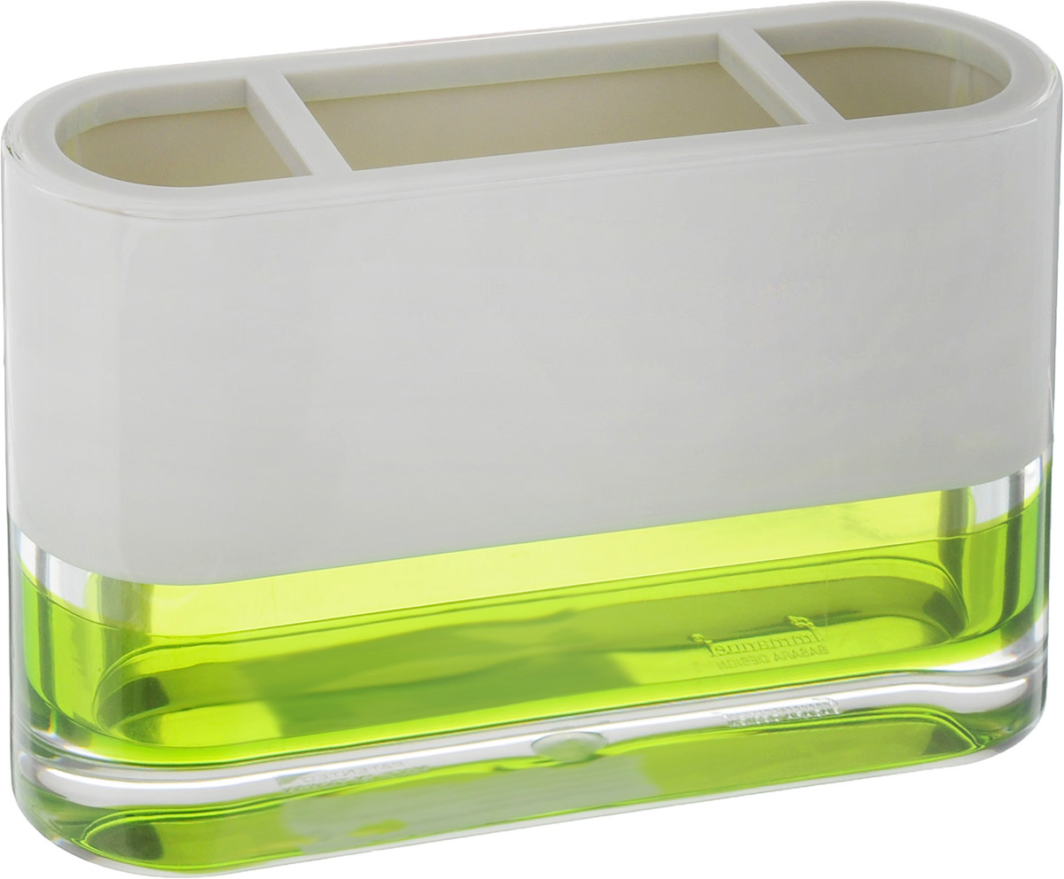 """Стакан для зубных щеток Tatkraft """"Topaz Green"""" изготовлен из прочного акрила. Основание дополнено яркой вставкой. Изделие имеет 3 секции для хранения зубных щеток и зубной пасты. Стакан для зубных щеток Tatkraft """"Topaz Green"""" станет стильным аксессуаром и красиво дополнит интерьер ванной комнаты."""