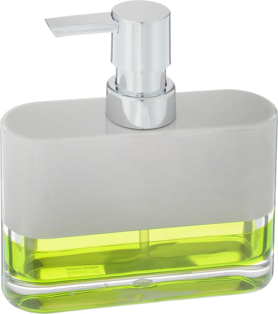 """Дозатор для жидкого мыла Tatkraft """"Topaz Green"""" изготовлен из акрила. Основание дополнено яркой вставкой. Такой аксессуар очень удобен в использовании: достаточно лишь перелить жидкое мыло в дозатор, а когда необходимо использование мыла, легким нажатием выдавить нужное количество. Дозатор Tatkraft """"Topaz Green"""" станет стильным аксессуаром и красиво дополнит интерьер ванной комнаты."""